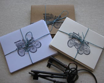 6 Handmade Vintage Automobile blank notecard set