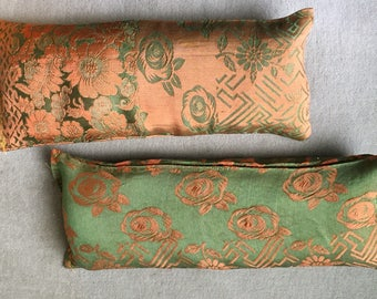 Pair of His and Her Thai Silk Eye Pillow (Flax Seed and Lavender)
