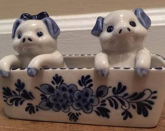 Handpainted Delft Blue Pigs in a Trough Salt and Pepper Shakers
