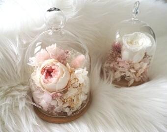 handmade Austin rose,white rose,preserved rose,gift for her,new home decor,pink flower arrangement,hydrangea,glass flower romantic gift