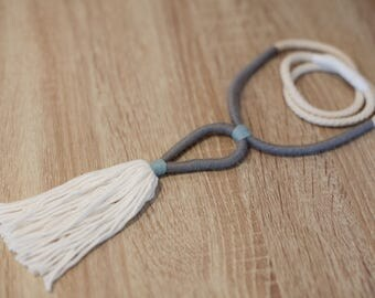 Long tassle necklace in soft greys and whites
