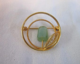 Vintage Circle Brooch Filigree and Jade Gold Tone