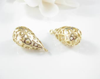 2PC Matte Gold Teardrop Pendant, Jewelry Supplies, 29 x 12mm