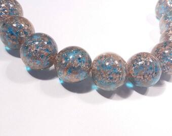 Beautiful Murano glass transparent Turquoise aventurina 12mm round beads, venetian beads, Uk beads, 10beads.