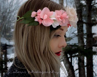 Artificial Coral and White Flower Crown