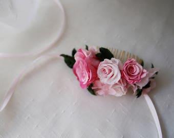 Peigne Candice vraies roses stabilisées/Eternelles