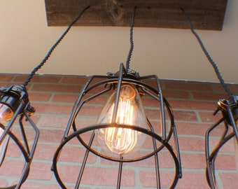Barn Wood Chandelier with 3 Black Metal Industrial Cages