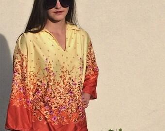 Vintage floral hippie blouse