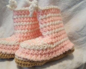 Pink Stripe Toddler Booties