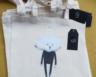 Head in the Clouds cotton Tote Bag (long handle). illustration cotton tote bag head in the clouds design accessory