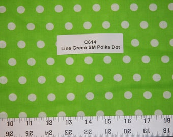 Lime Green Polka dot Cotton Fabric SHIPS FAST Polka dot Cotton fabric quilting sewing crafts clothing fabric store free shipping available