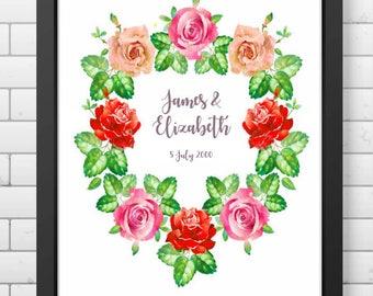 Personalised Floral Wedding Print, Anniversary Gift, Flower Wreath
