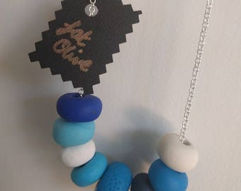 Polymer Clay bead necklace jewellery -'True Blue' .handmade