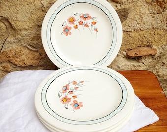 Dessert plates in earthenware of Salins, model may flowers