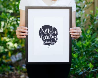 Custom Silhouette with Hand-Lettered Text