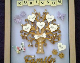 FAMILY TREE FRAME personalised keepsake gift box frame wooden