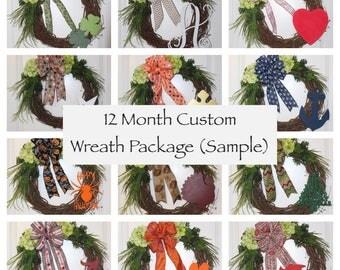 12 Month Custom Wreath Package - Front Door Wreath, Everyday Wreath, Wood Monogram, 11 Themes