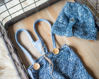 The Bryce-Photography prop boys-suspenders-night cap-blue-jersey-set-newborn ready to ship-sitter made to order