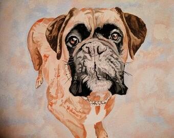 Custom watercolour pet portrait