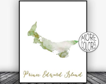 Prince Edward Island Print, Office Art Print, Watercolor Print Print, Map Art Wedding Gift Office Decor, Country Map, ArtPrintsZoe
