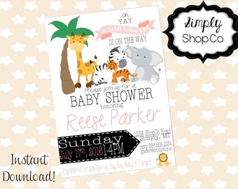Jungle animal baby shower invitation, safari, invite, printable, DIY instant download, editable baby shower template, pink, baby girl.