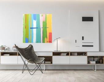 Modern Art, Giclee Print, Wall Art, Modern Art Print, Free Shipping,  Printable Art, Abstract Art, Stretched Canvas, Urban Summer 2