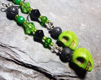Absinthe green and black skull earrings/day of the dead/Halloween/candy skull