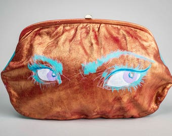 Are You Looking at Me Clutch or Makeup Bag, GlamCycled Metallic Hand Painted Vintage Leather Purse