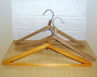 Old vintage set of wooden hangers era of the USSR, Set of 3 hangers, Made in USSR, Rustic Decor, Soviet Vintage Hanger, Wooden Cloth Hanger
