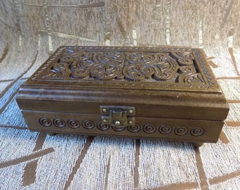 Wooden hand carved jewelery box storage natural wood Very Nice Exclusive design #d099