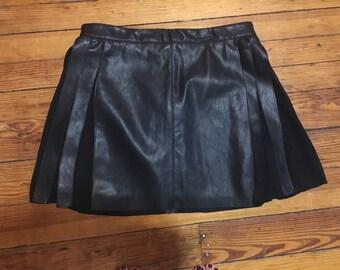 Faux Leather School Girl Skirt