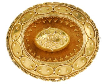 Antique Victorian Etruscan Revival Gold Brooch