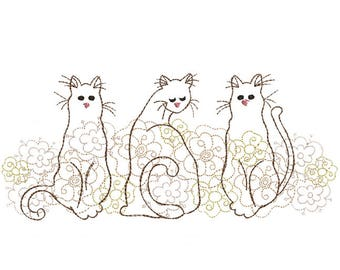 Three Kitty Border - Machine Embroidery Design