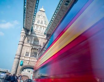 London Bus on Tower Bridge
