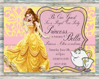 Beauty and The Beast Invitation - Belle Tea Party Invite - Princess Birthday Party - Digital Glitter