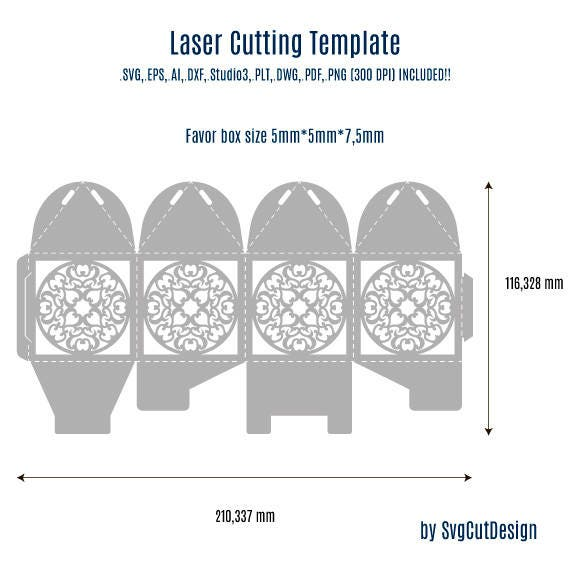 Lace Wedding Favor Box Template Laser cutting Commercial Use
