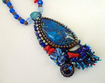 """Necklace """"Under the sea"""" - beaded necklace - beadwork - bead embroidery necklace - blue necklace - summer outfit - natural stones necklace"""