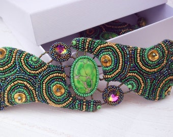 "Bead embroidery cuff ""The essence of the spring"" - green bracelet - green cuff - crystal cuff - handmade jewelry - statement bracelet"
