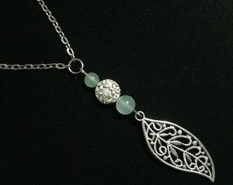 Light Green Aventurine Leaf Necklace