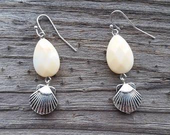 Yellow Opal Sea Shell Earrings