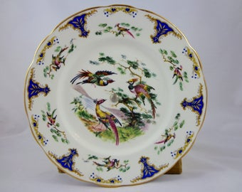 James Clarke & Sons Fluted Glass Pedestal Serving Plate w/ gold rims, Phoenix and Bird etching , Tiered plate, platter