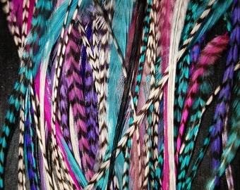 "75 Pet Feather Extensions or Bang Feather Hair Extensions, 3-6"" + Extras"