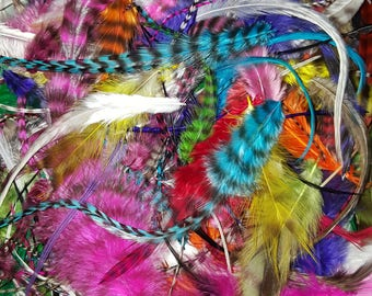 "200 + Multi-Color Feather Hair Extension, Fly-Fishing, or Craft Feather Lot, 3-7"" and longer"