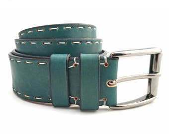 Turquoise Leather Belt - Handmade in Italy Unisex Belt