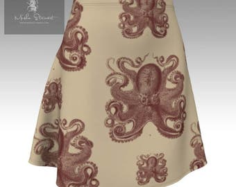 Nautical Octopus Flared Miniskirt