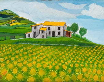 4 Italian Landscapes by ADELIO SANTI Folk Art Lithographs printed on High Quality Canvas