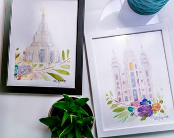 LDS Temple Watercolors