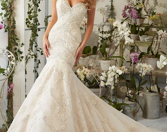 Gorgeous Crystal Beaded Lace Applique Mermaid Wedding Gown Sz 12