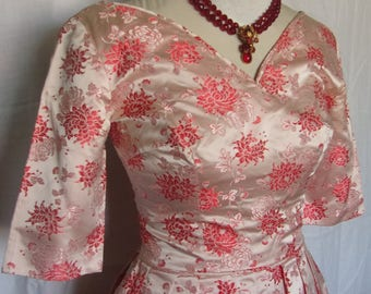 Vintage 1950s 50s Handmade Chinese Silk Brocade Floral Formal Bubble Red Pink Party Dress