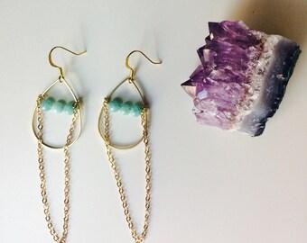 Amazonite & Brass Drops